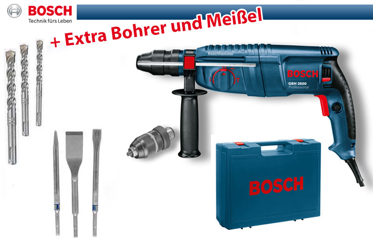 bosch bohrhammer gbh 2600 inkl koffer und sds plus bohrer mei el set ebay. Black Bedroom Furniture Sets. Home Design Ideas