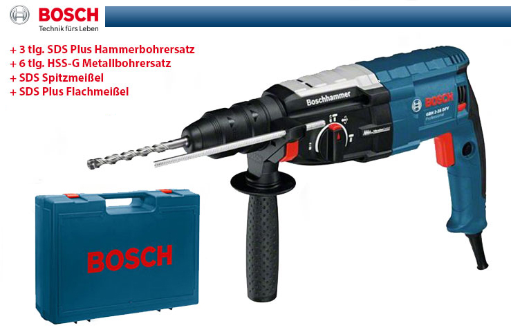 bosch bohrhammer gbh 2 28 dfv 3x sds plus bohrer 2xmei el im handwerkerkoffer ebay. Black Bedroom Furniture Sets. Home Design Ideas