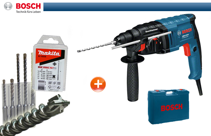 bosch bohrhammer gbh 2 20 d makita sds plus bohrerset im handwerkerkoffer ebay. Black Bedroom Furniture Sets. Home Design Ideas