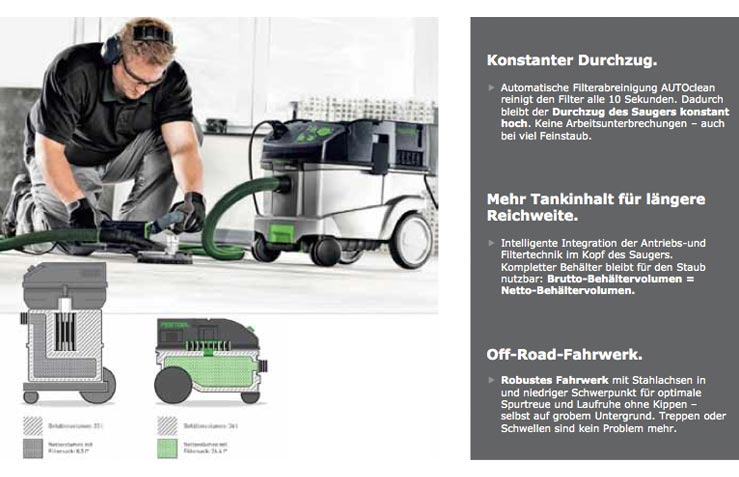 festool sauger ctm 36 e ac hd vcp 260 staubsauger klasse. Black Bedroom Furniture Sets. Home Design Ideas