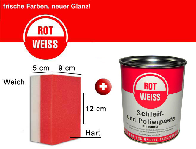 rotweiss schleif und polierpaste handpolierschwamm politur 750ml schleifpaste ebay. Black Bedroom Furniture Sets. Home Design Ideas