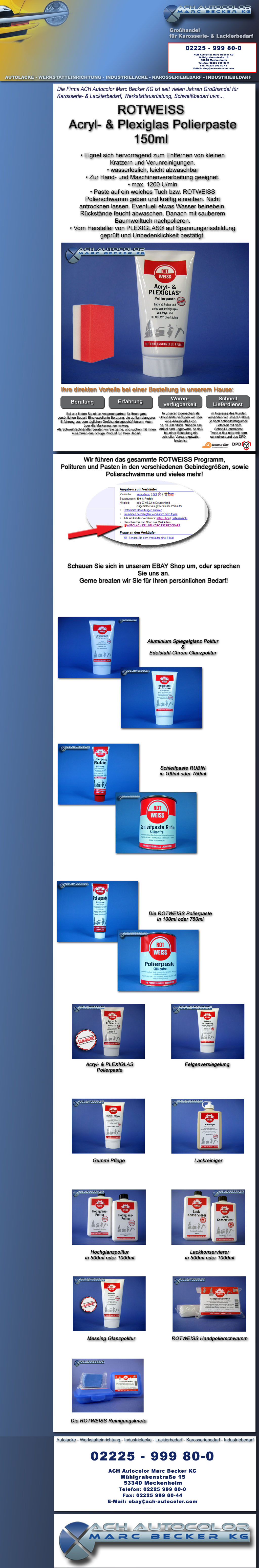 rotweiss acryl plexiglas polierpaste 150ml autolack. Black Bedroom Furniture Sets. Home Design Ideas