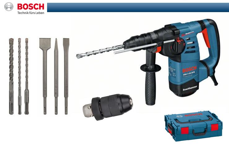 3 Bohrer 3 Meißel 061124A004 in L-BOXX BOSCH SDS-Plus Bohrhammer GBH 3-28 DFR