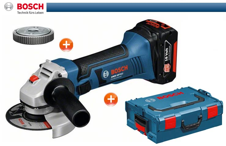 bosch cordless angle grinder gws 18 v li sds clic nut m l boxx solo blue ebay. Black Bedroom Furniture Sets. Home Design Ideas